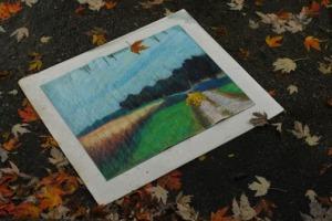 rain-soaked pastel painting pastel still intact