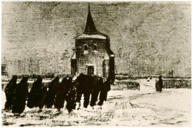 Funeral in the Snow Near the Old Tower